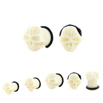 Skull Single Flared Plug White 2