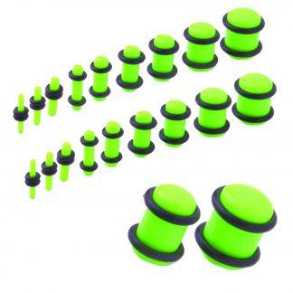 UV Acrylic No Flare Plug   Fluro Green