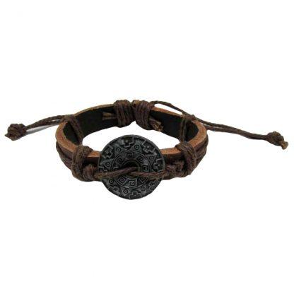 Aztec Shield Brown Leather Bracelets 2