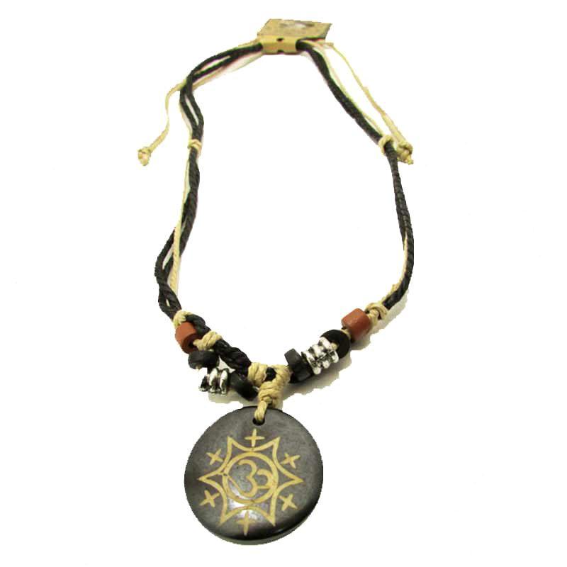 Buddhist Om Symbol Design Ox Bone Pendant Rope Necklace Oz Body