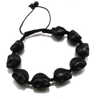 Carved Black Skull Shamballa Bracelets