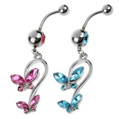 Gem Butterfly Heart 316L Stainless Steel Belly Rings Main