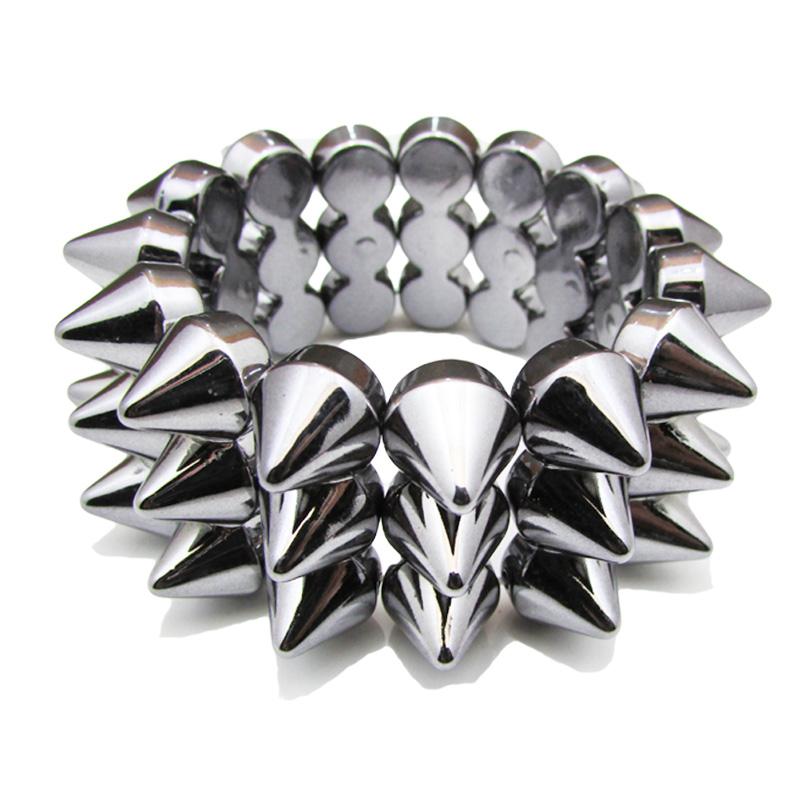 Silver Spiked Stretch Acrylic Punk Bracelets