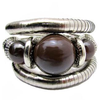 Silver & Stone Bead Coil Bracelets