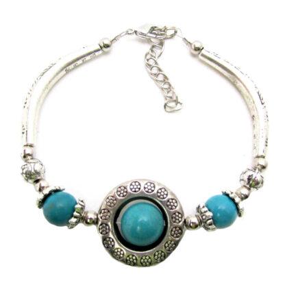 Turquoise Stone Bead & Tibetan Silver Bracelets