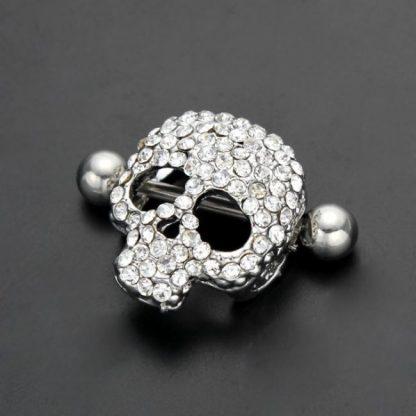 Crystal Gem  316L Stainless Steel Skull Nipple Ring