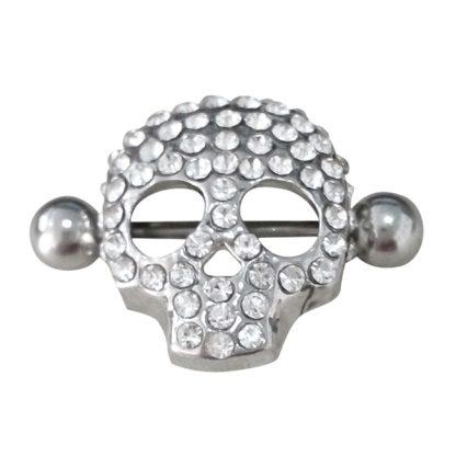 Crystal Gem  316L Stainless Steel Skull Nipple Rings