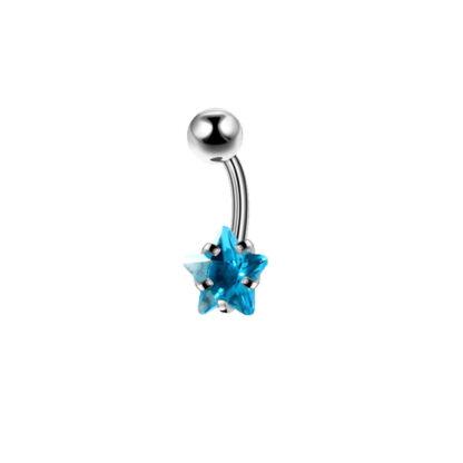 Crystal Star Gem 316L Stainless Steel Belly Ring Light Blue