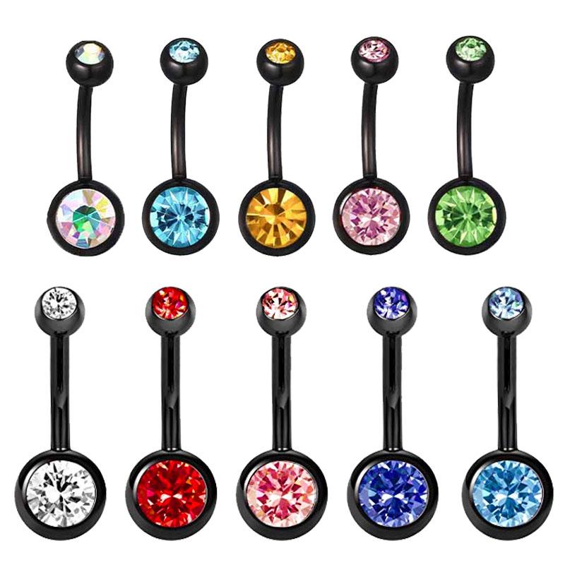 Black Titanium Anodised CZ Gem 316L Surgical Stainless Steel Belly Bars 10 Colour Gems
