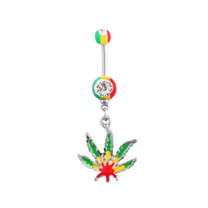 CZ Gem Green Cannabis Leaf 316L Surgical Stainless Steel Belly Dangle Rastafari