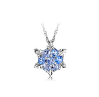 CZ Gemmed Snowflake Alloy Necklace   Light Sapphire