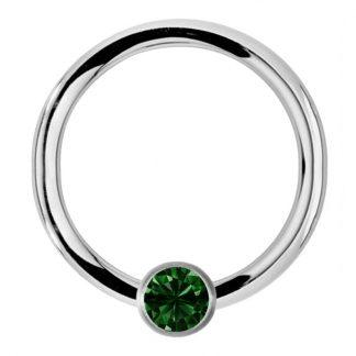 CZ Gemstone Captive Bead Ring Septum Cartilage Eyebrow Lip Helix Tragus Ear Hoop   Emerald