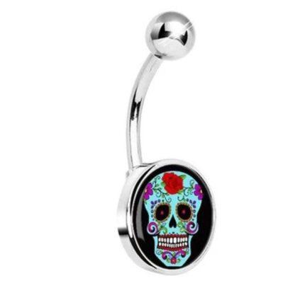 Dark Sugar Skull Stainless Steel Belly Ring