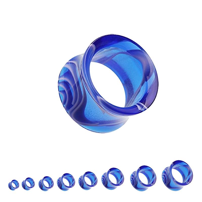 Coloured Marble Acrylic Single Flared Tunnel   Blue & White