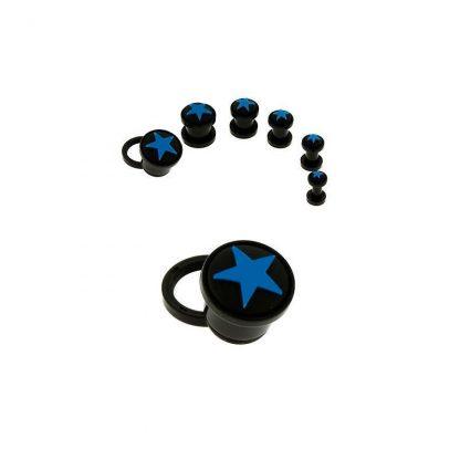Coloured Star Black Acrylic Screw Fit Plugs  Light Blue