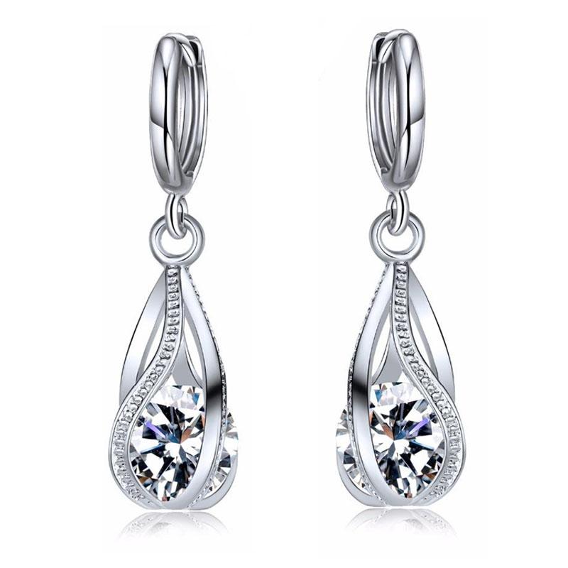 Large Crystal Gem Teardrop Silver Earrings