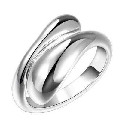 Tear Drop Shaped Silver Ring