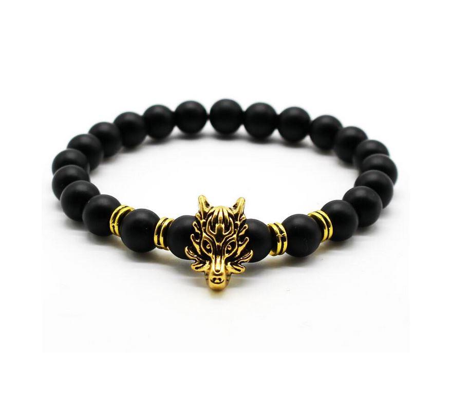 Wolf Head Lava Stone Bead Bracelet   Gold