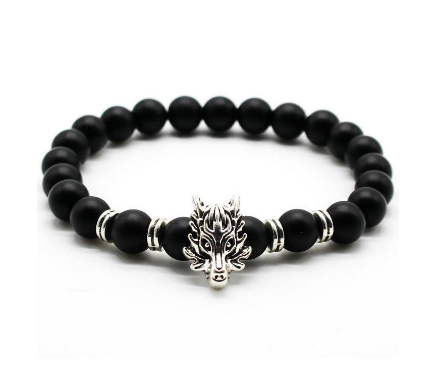 Wolf Head Lava Stone Bead Bracelet   Silver