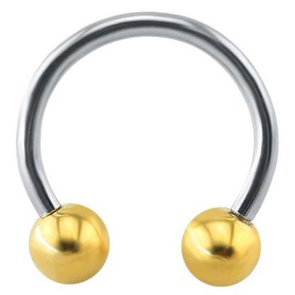 14g Stainless Steel Gold Ball Horseshoe Eyebrow Lip Cartilage Nipple Septum Piercing