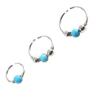 3 Piece Set18g Turquoise Bead Lip Ear Nose Eyebrow Cartilage Septum Ear Lobe Piercing Hoop Rings 1