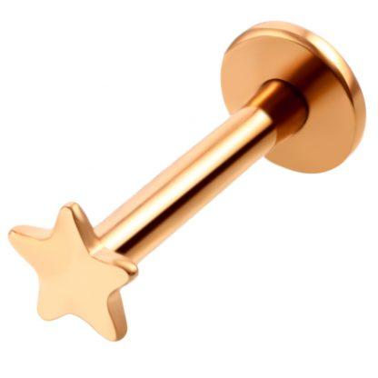 16g Surgical Steel Rose Gold Star Lip Labret Cartilage Helix Ear Stud Piercing