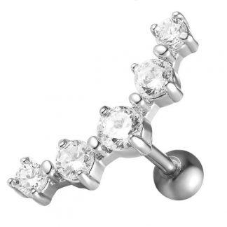 16g Surgical Steel Tragus Cartilage Piercing Crystal Flower Conch Lobe Orelha Barbell Piercing