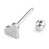 14g Silver Titanium Anodised Surgical Steel Textured Heart Tongue Bar Piercing Closure