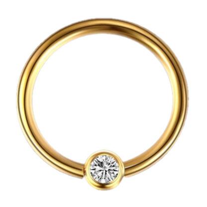 16G Gold 10mm G23 Titanium Crystal Captive Bead Ring Lip Ear Nipple Eyebrow Septum Piercing Jewellery