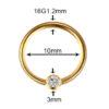 16G Gold 10mm G23 Titanium Crystal Captive Bead Ring Lip Ear Nipple Eyebrow Septum Piercing Jewellery Size