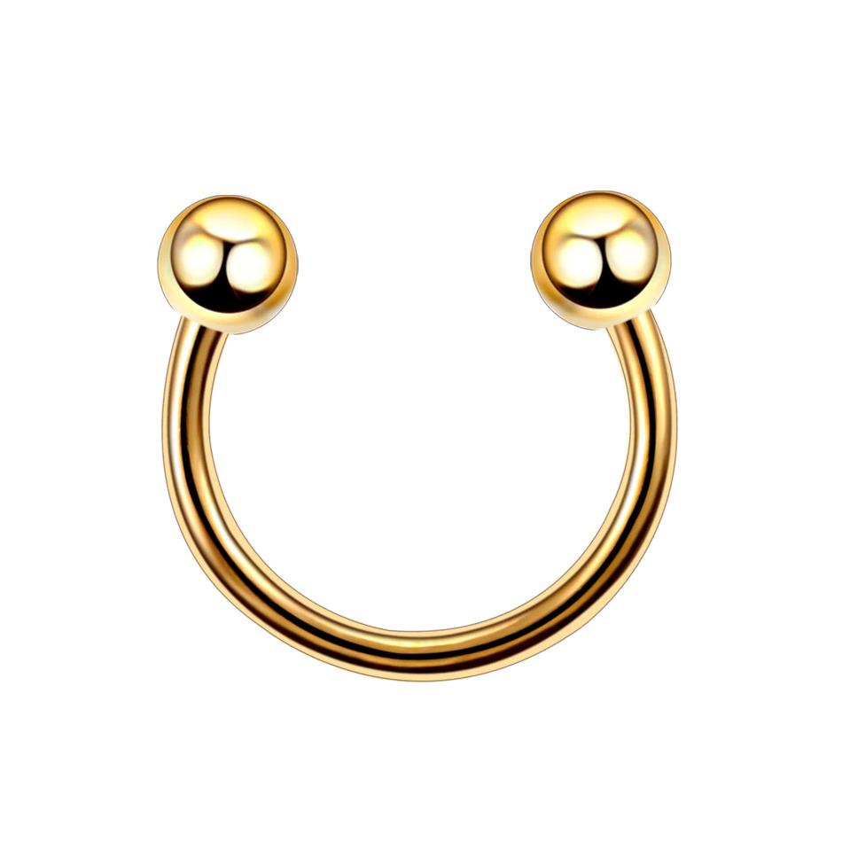 16G Gold 10mm G23 Titanium Horseshoe Circular Barbell Lip Ear Nipple Eyebrow Septum Piercing Jewellery