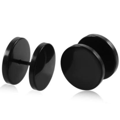 16g 6mm Black Surgical Steel Fake 10mm Plug Tunnel Cartilage Ear Stud