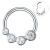 16g Four Crystal 8mm Silver Surgical Steel Septum Ear Cartilage Tragus Daith Nipple Piercing
