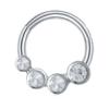 16g Four Crystal 8mm Silver Surgical Steel Septum Ear Cartilage Tragus Daith Nipple Piercings
