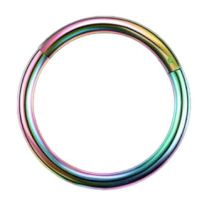 16g G23 Rainbow Titanium Hinged Segment Clicker Ring Nipple Ear Cartilage Eyebrow Lip Piercing