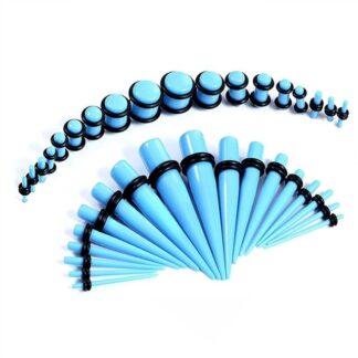 Light Blue Acrylic Plugs & Tapers Stretching Kit  (36PC) (14GA   00GA)