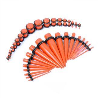 Orange Acrylic Plugs & Tapers Stretching Kit  (36PC) (14GA   00GA)