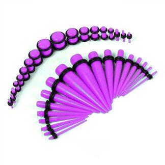 Purple Acrylic Plugs & Tapers Stretching Kit (36PC) (14GA   00GA)