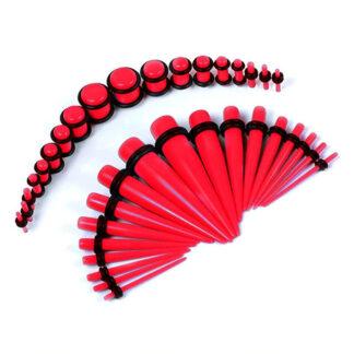 Red Acrylic Plugs & Tapers Stretching Kit  (36PC) (14GA   00GA)